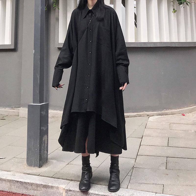 限10000张券暗黑系设计感衬衫裙女中长款赫本风小众上衣复古慵懒风长袖衬衣服