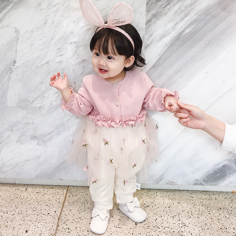 Childrens creeper baby strawberry embroidered mesh contrast color one-piece knitted Jumpsuit NEW