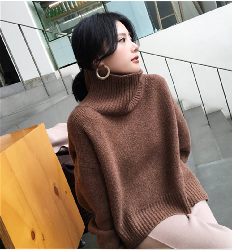 New high neck sweater womens thickened Pullover Sweater lazy wind loose knit sweater white base coat cashmere sweater