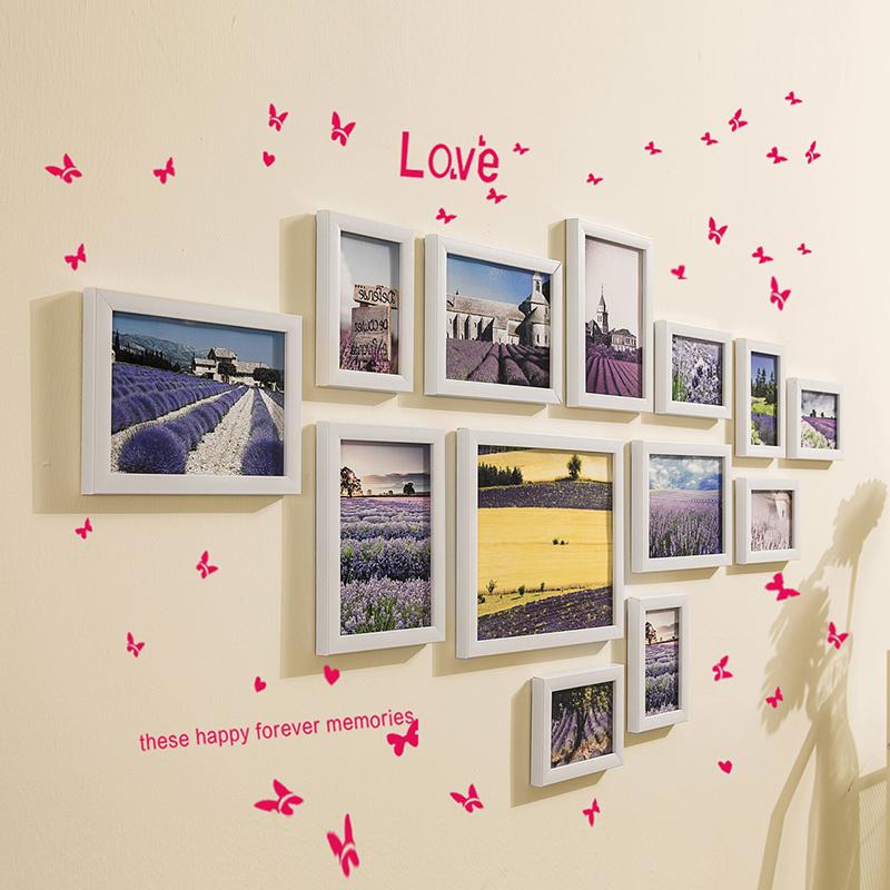Простой современный гостиная небольшой свежий фото стена декоративный фоторамка стена фото стена творческий фоторамка стена рамка сочетание