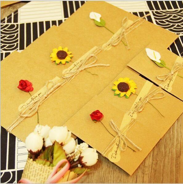 包邮 韩国创意牛皮纸手工生日祝福感谢卡中秋小卡片教师节贺卡diy