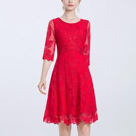 萱维尔婚礼服女秋中年妈妈装喜婆婆婚宴新娘喜庆大红色刺绣连衣裙