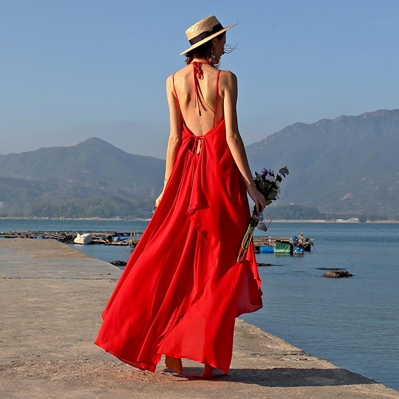 墨颜夏女巴厘岛海边度假沙滩裙性感露背长裙泰国普吉岛超仙连衣裙限时抢购