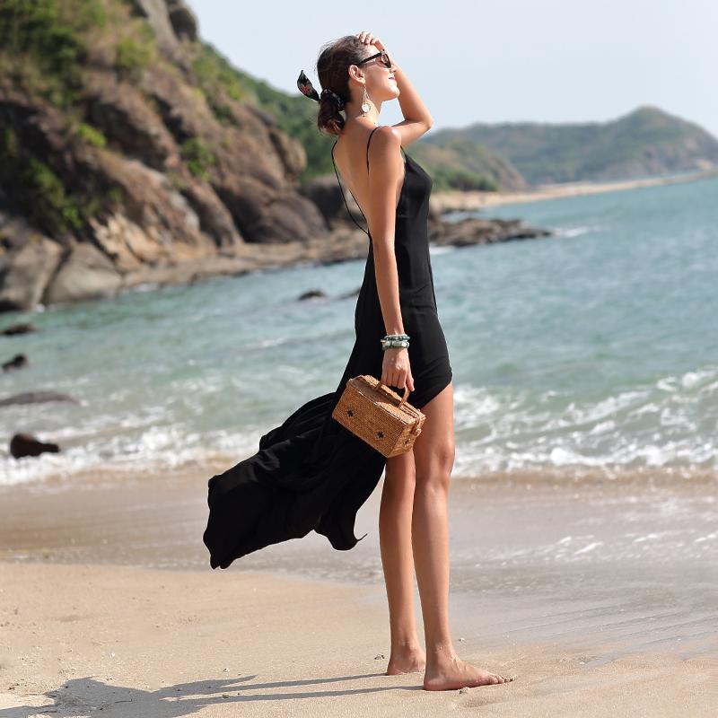 海边沙滩裙夏2018新款女装性感露背连衣裙巴厘岛度假风开叉长裙仙