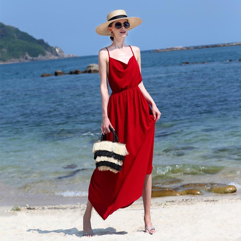 2018新款夏女装海边雪纺沙滩裙露背显瘦长裙巴厘岛度假宽松大摆裙
