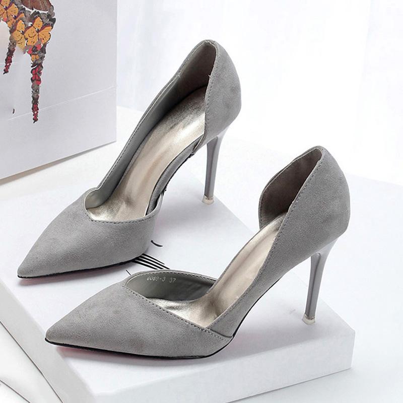 法式少女侧空高跟鞋细跟绒面灰色性感尖头百搭单根鞋2020春夏新款