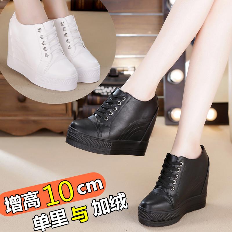 黑色鞋子女2019春款内增高10厘米女鞋厚底松糕休闲鞋春秋坡跟单鞋