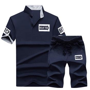 运动套装男夏季跑步健身服宽松夏休闲POLO衫户外男士短袖T恤 短裤