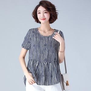 20夏季新款中长款短袖拼接圆领常规格子衬衫JBCYW P80