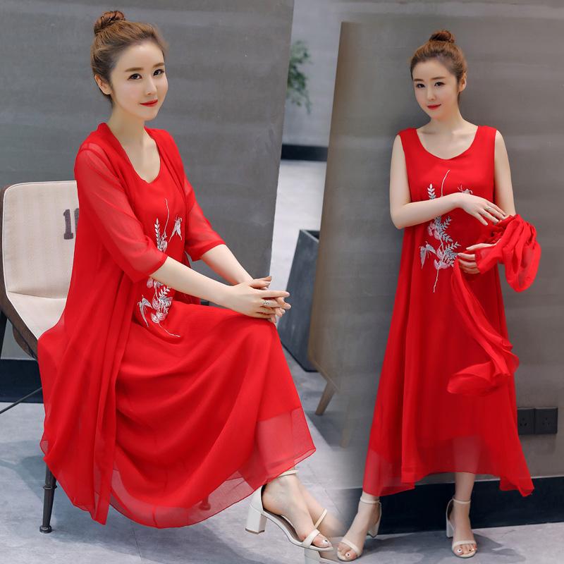 宽松腰圆领套装/套裙五分袖长裙A型两件套PDYXW P120