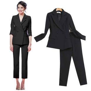纯黑白色时尚职业套装女裤两件套韩国修身显瘦双排扣小西装外套潮