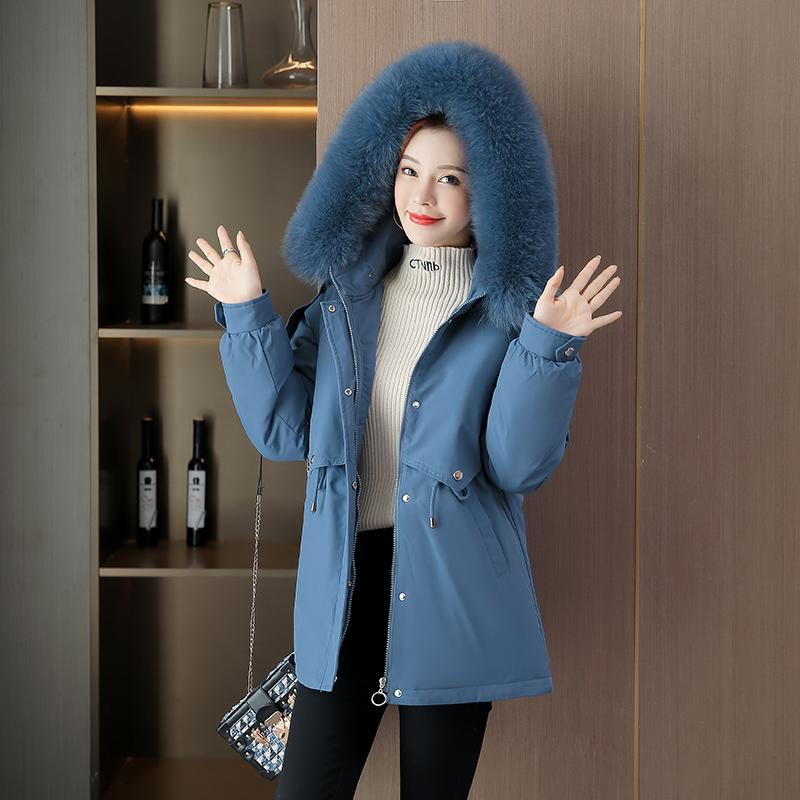 빅사이즈 다운 여성용 겨울 데일리룩 크롭 기모 MM슬림 재킷
