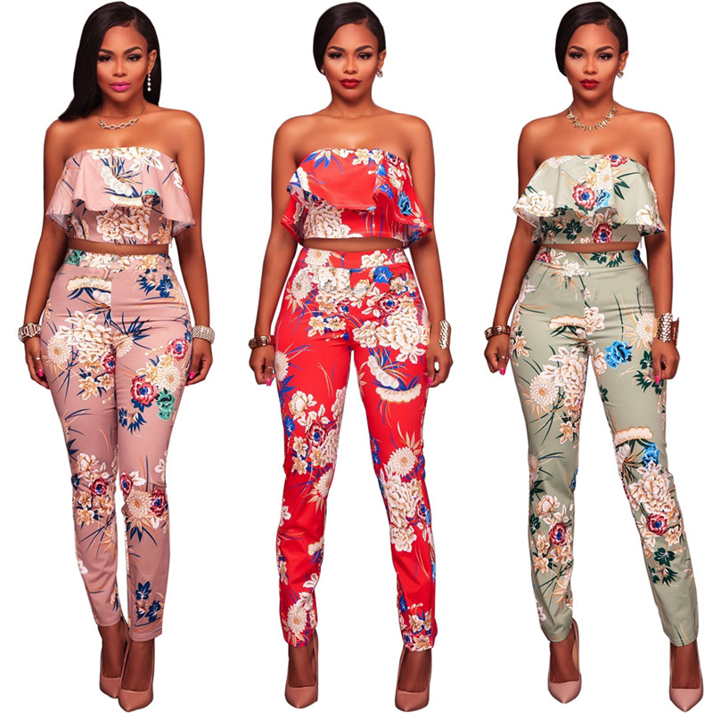 2017 fashion sexy Wrap chest two piece printing Siamese suit