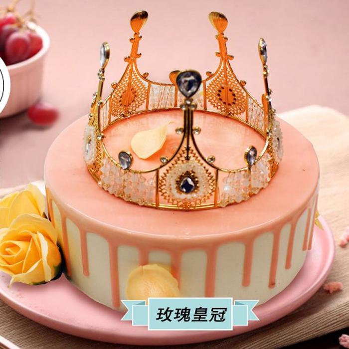 好利来&麦子花果生日蛋糕同城配送张家口市宣化区(玫瑰皇冠)