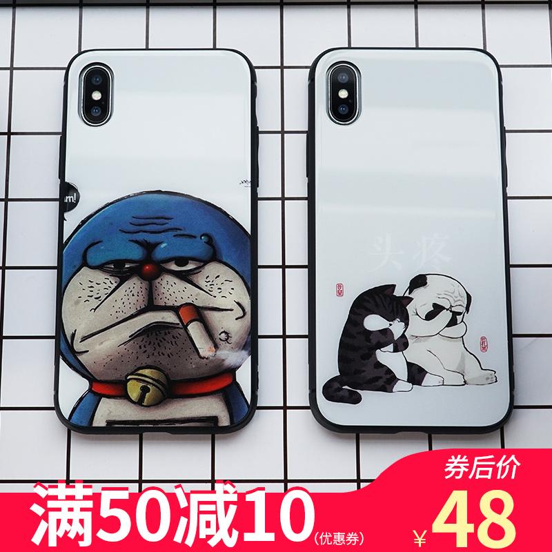 欧普瑞斯苹果XiPhone7plus手机壳iPhone6s/8plus/xs max玻璃壳潮牌新款ins风超火网红酷萌卡通叮当猫个性创意