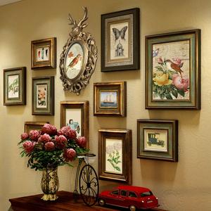 欧式实木复古做旧鹿头挂墙照片墙