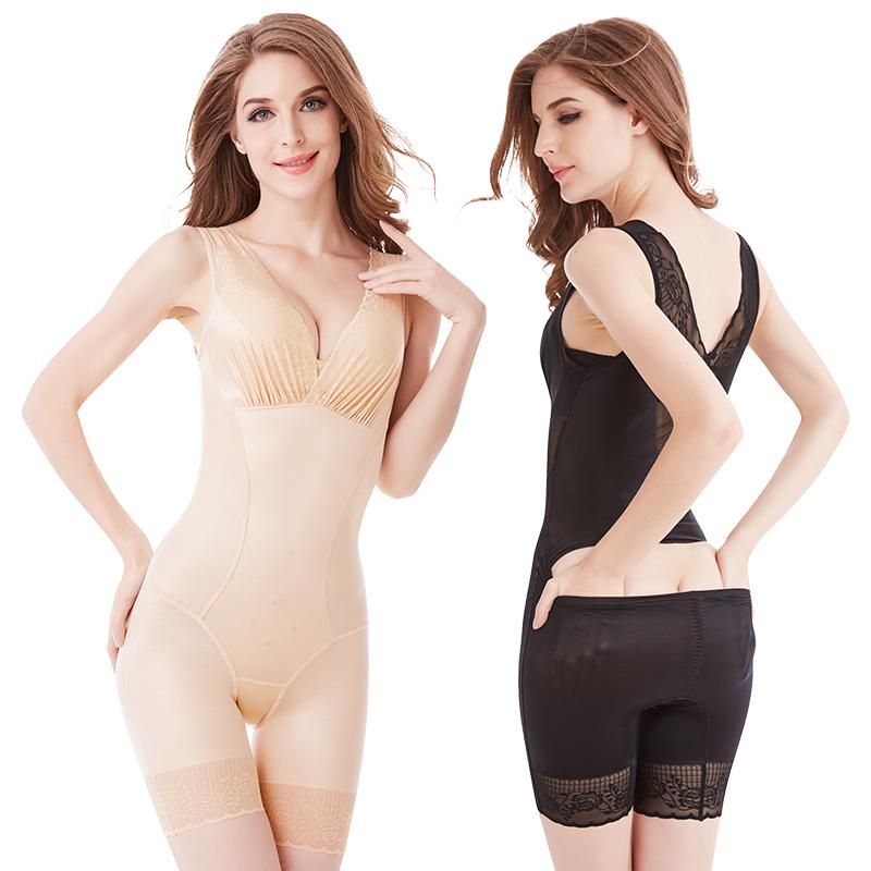 婷美�S雅超薄款无痕后脱连体塑身内衣产后收腹束腰减肚子美体塑形