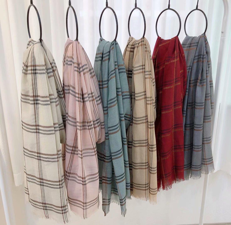 Scarf womens winter ring Cashmere Shawl classic Plaid stripe neck