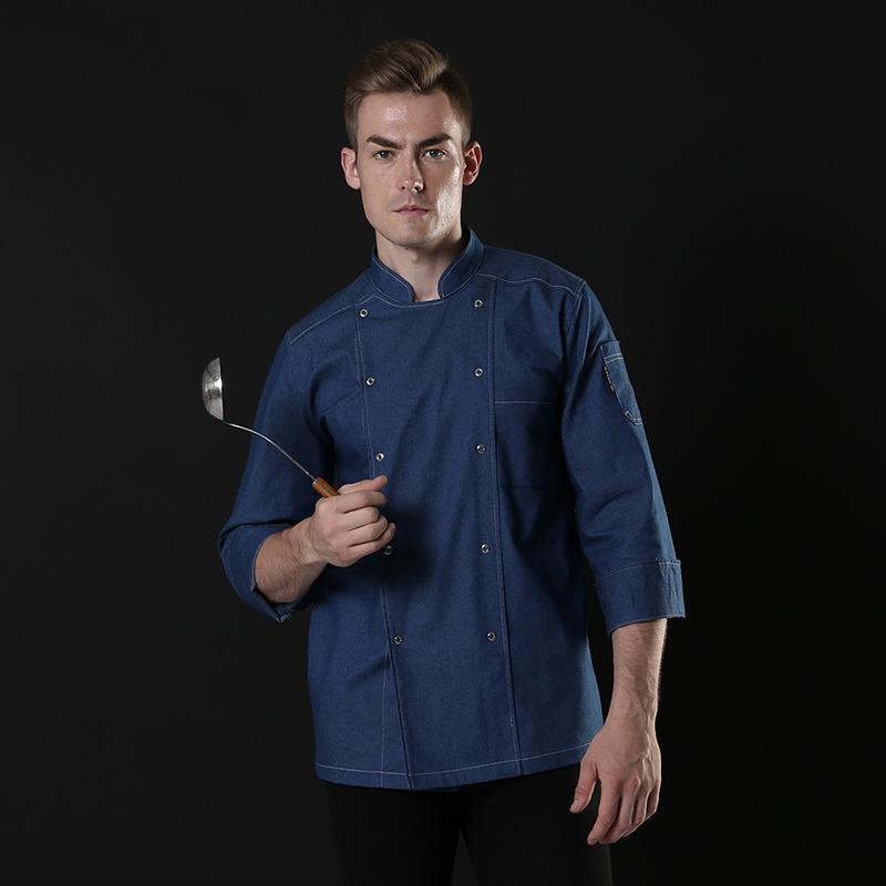 烘焙师制服自助餐厅牛肉烧烤师工装厨师工作服秋冬长袖烹饪蛋糕服