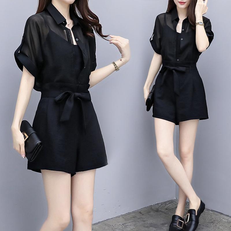 大码女装2018夏装新款胖mm短袖上衣洋气短裤休闲显瘦套装三件套装