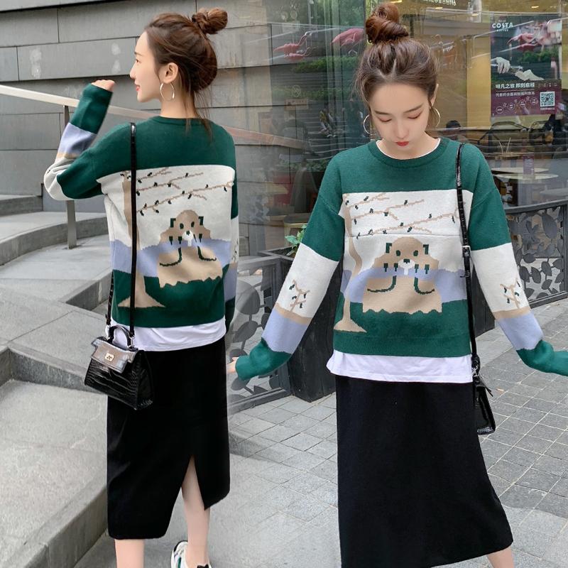 亚博娱乐平台入口现货 秋冬新款考拉图案提花哺乳包芯纱毛衣+针织半身裙套装