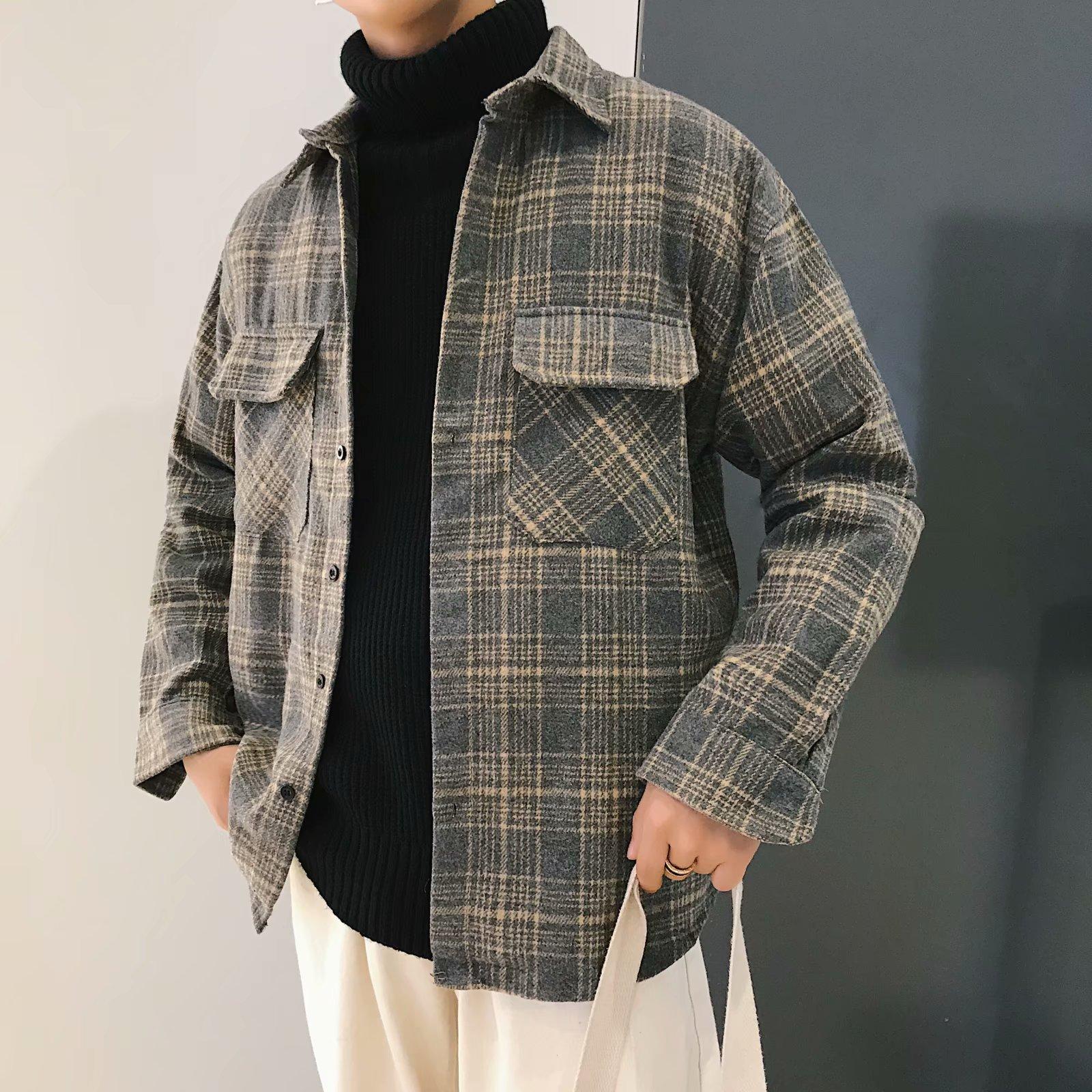 秋冬季毛呢料休闲格子外套男韩版港风青少年宽松长袖衬衣男潮衬衫