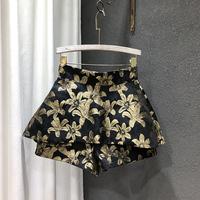 查看2021夏季新款韩版时尚古大花朵高腰不规则显瘦百搭A字短裙裙裤潮价格