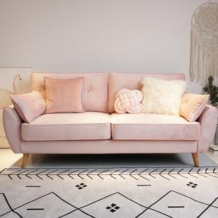 北欧可拆洗双人三人位甜粉色卧室公寓民宿客厅布艺沙发ins网红风