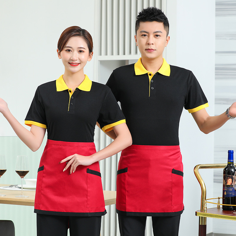 Barbecue shop mens and womens coffee shop waiters milk tea T-shirt work clothes catering hot pot Hotel short sleeve summer clothing customization