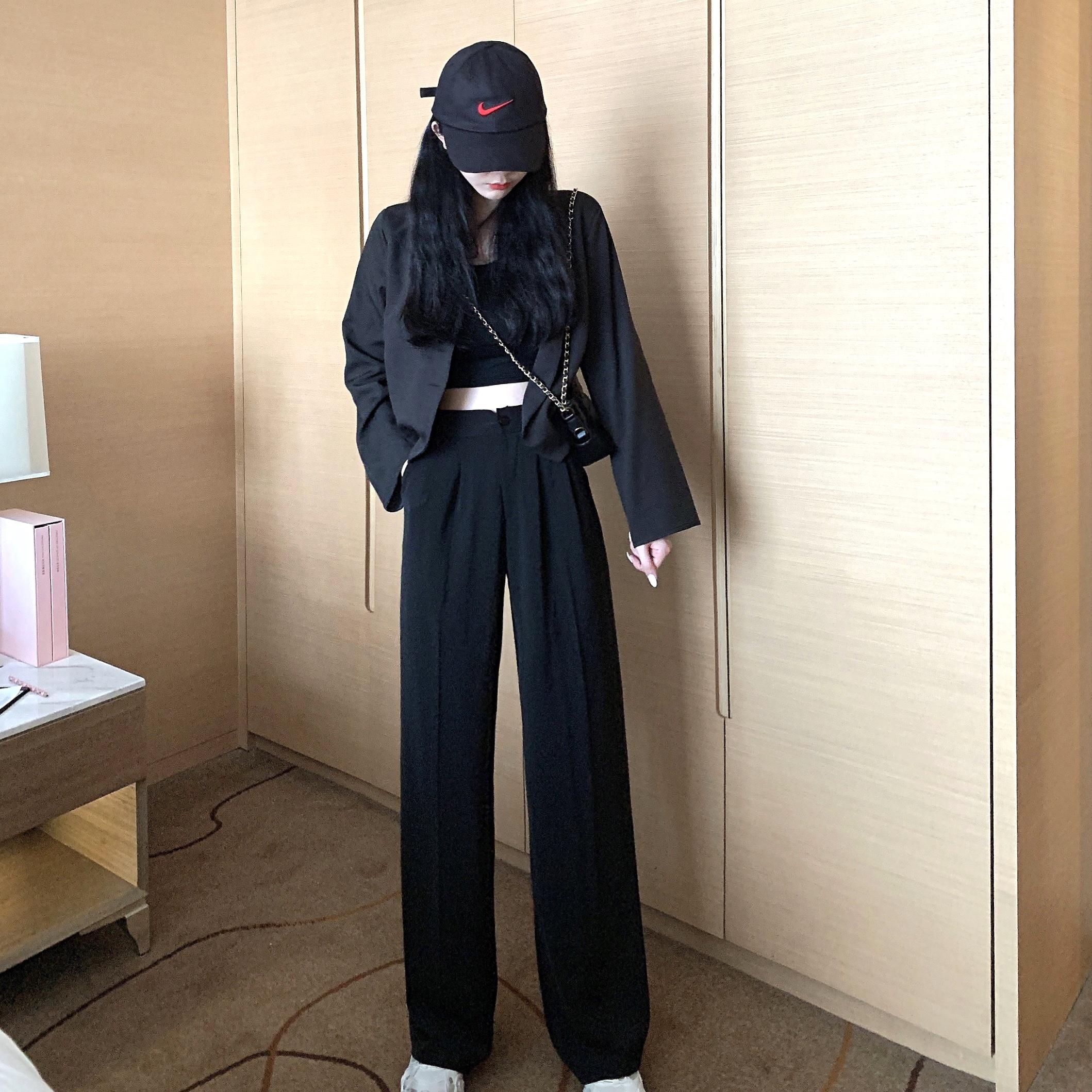 正品保证酷女孩穿搭嘻哈露脐装性感黑色系列