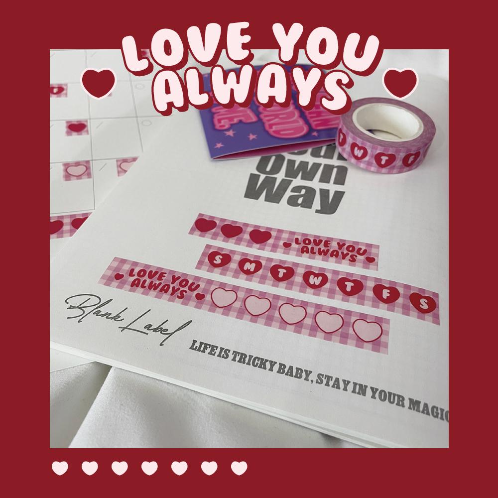 中國代購 中國批發-ibuy99 ������ BlankLabel •PINK CHECK 粉色格子爱心和纸胶带  ins少女心胶带