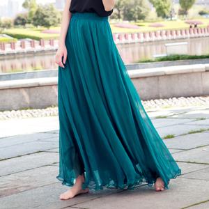 海边拖地长裙仙女8米大摆裙沙滩度假显瘦夏季金丝雪纺半身裙