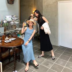 FFAN泛泛 无袖圆领针织连衣裙女2019夏季内搭高腰显瘦百褶长裙