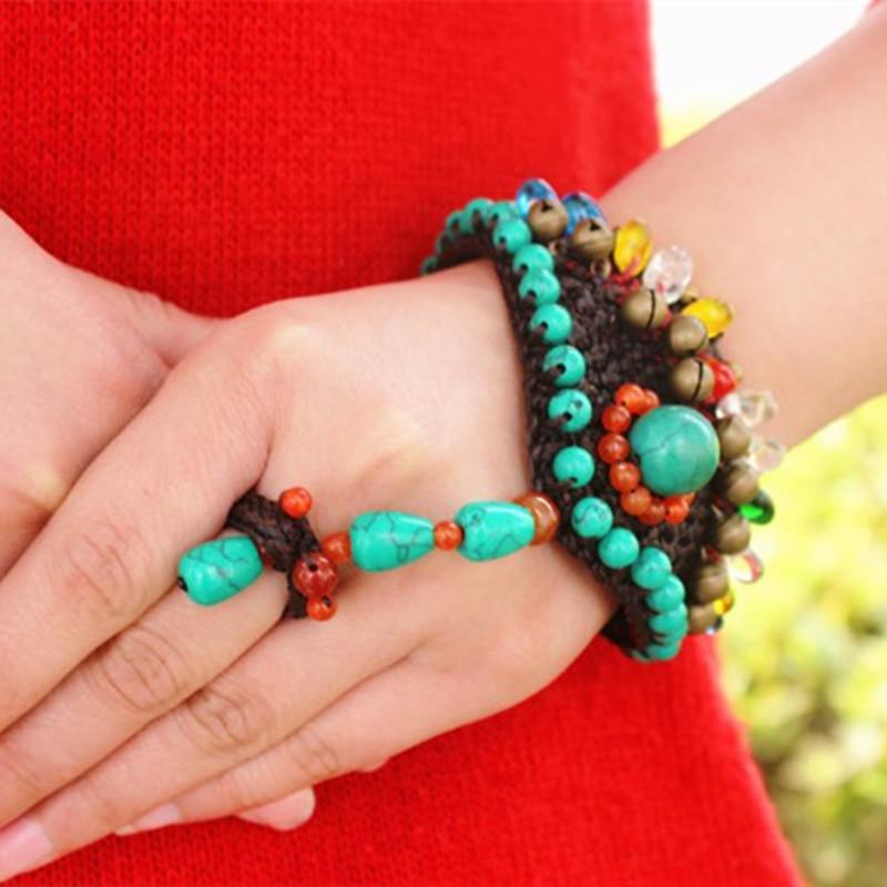 民族风绿松石手链连介指一体编织小众设计个性圆珠复古夸张手串女 Изображение 1