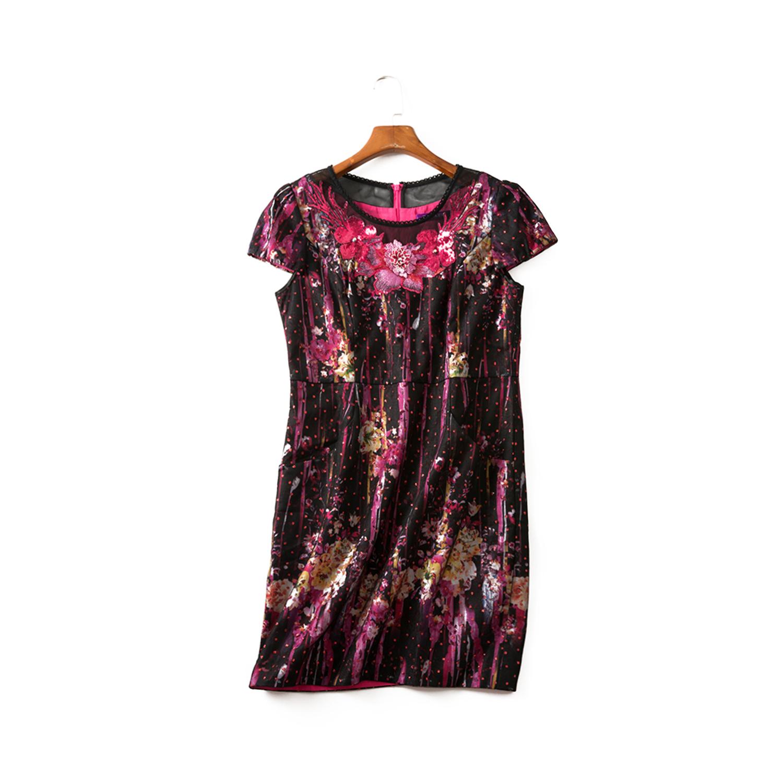 台湾女装18年夏款【 凯蕾】高雅贵气 领口亮片贴花连衣裙 163080