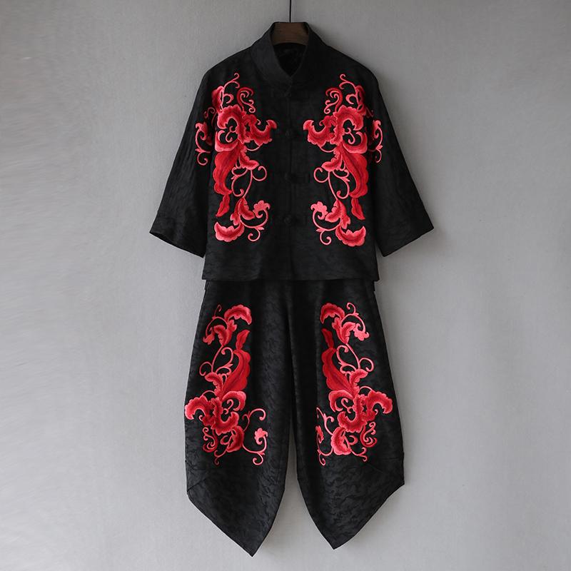 春秋中老年女装棉麻套装绣花民族风唐装中年妈妈装外套洋气两件套
