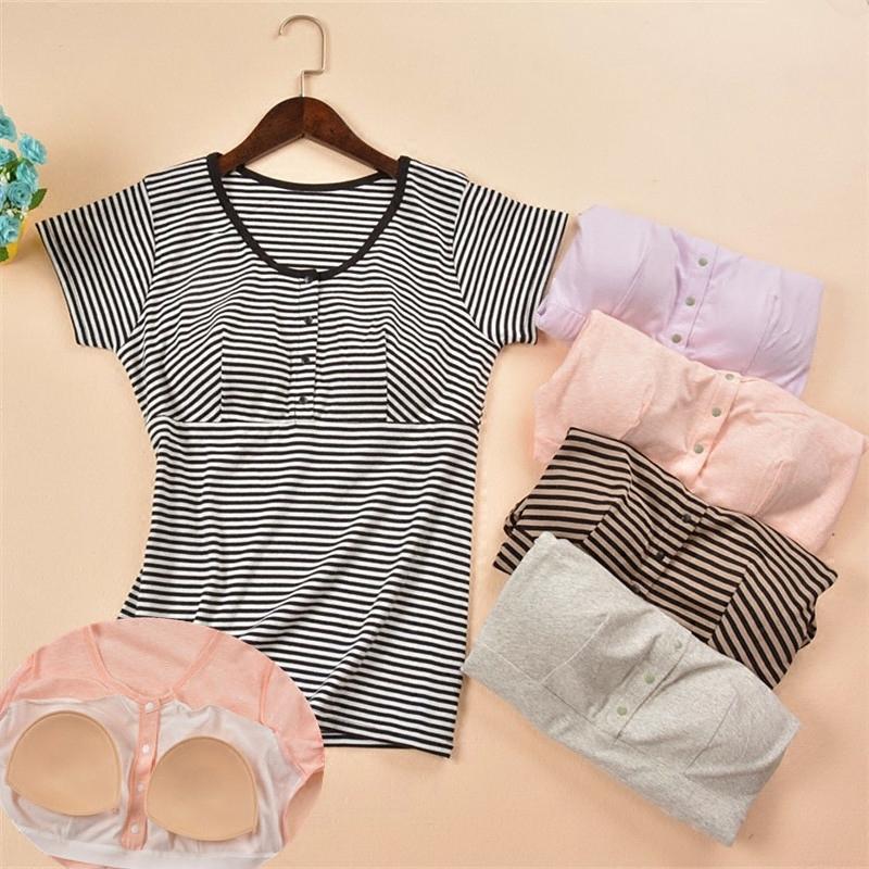 莫代尔棉孕妇月子服前扣哺乳短袖衫带胸垫文胸宽松喂奶上衣外出夏
