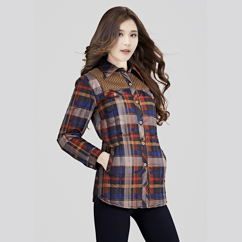 20 spring and autumn winter new womens down jacket Korean slim shirt Plaid long sleeve large size warm liner bottom coat
