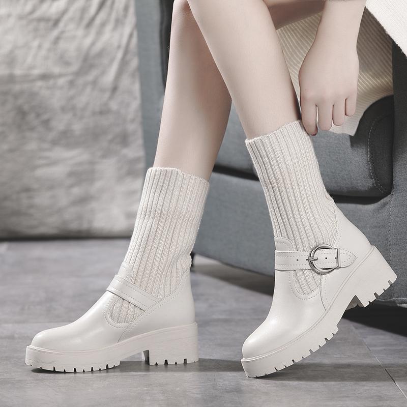 靴女2019新款百搭短靴厚底真皮英伦风中跟平底百搭保暖棉靴