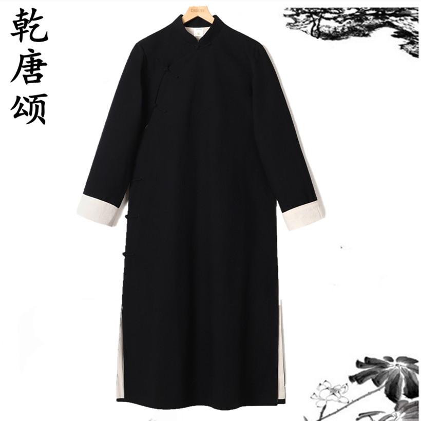 358.00元包邮汉服男士大褂唐装长款棉麻外套中国风复古中式伴郎服相声长袍马褂