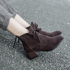 秋冬季女鞋子粗跟百搭短靴女2019新款百搭学生韩版马丁靴4142大码