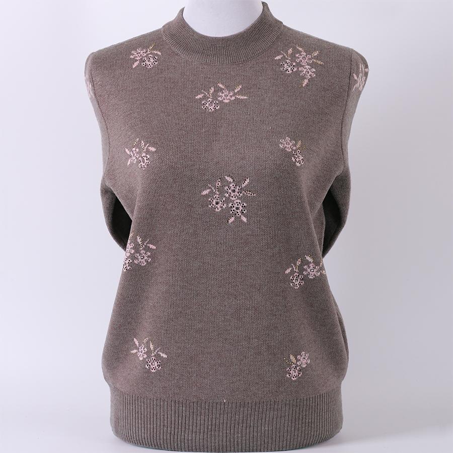 中老年人秋装女装妈妈毛衣加厚半高领套头羊毛衫奶奶装针织衫上衣