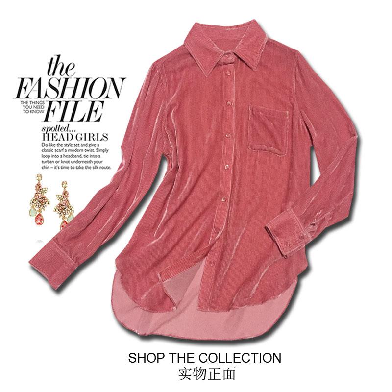 2020春季精品真丝丝绒衬衣长袖直筒桑蚕丝丝绒上衣休闲口袋装饰