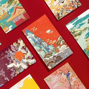 故宫博物院烫金贺卡高端中式手绘中国古风婚礼物生日祝福卡片仙鹤