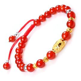 正品天然红玛瑙手串编绳女士黄金转运珠手链水晶手饰本命年送女友