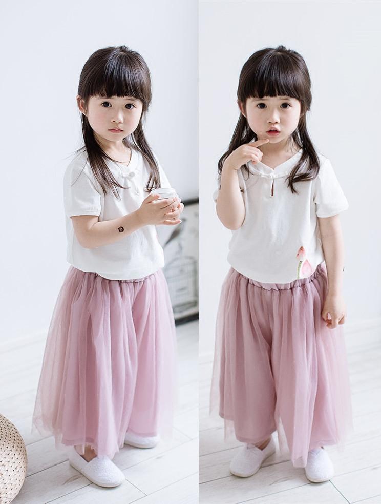 19夏季新款童装女童汉服 儿童中国风荷花纯棉t恤雪纺纱裙裤母女装