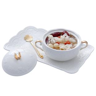 描金燕窩碗甜品碗歐式宮廷燕窩燉盅雙耳碗陶瓷帶蓋糖水早餐碗粉色