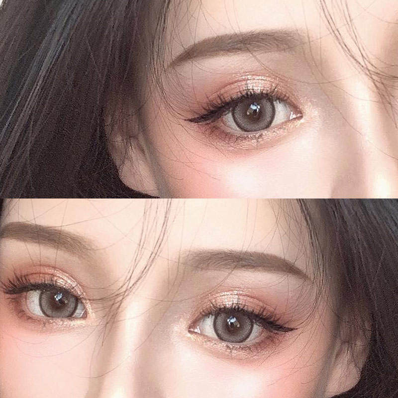 Yukicon beauty pupil contact lens annual throw female small big diameter half year throw sntty Brown natural gold powder DX