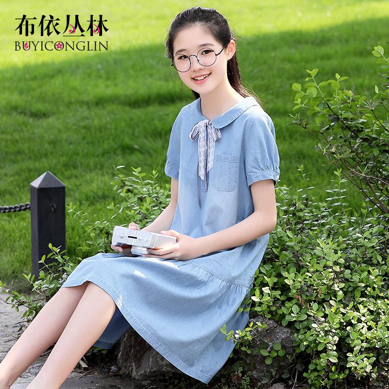 2020新款韩版初中生夏季裙子学院风高中学生夏装女牛仔少女连衣裙图片