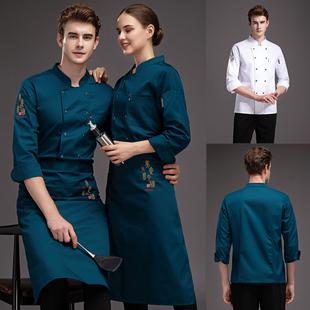 短袖 酒店餐饮中餐厅后厨房厨师长服装 高端饭店厨师工作服男长袖